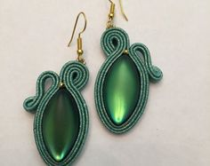 Soutache earrings Polymer Clay Jewelry, Clay Earrings, Tassel Earrings, Soutache Necklace, Fabric Birds, Beaded Brooch, Shibori, Beaded Embroidery, Boho Jewelry