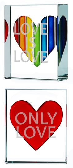 Equality. Glass rainbow heart and red heart token. Love is Love and Only Love by Spaceform London. #love #loveislove