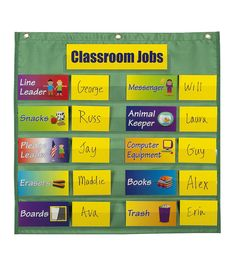 Visual chore chart, not in pockets but a board with Velcro and student name cards