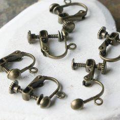 Clip earring dangle converters Antiqued Brass Screw back Clip