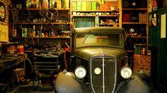 Black Classic Car Inside the Garage · Free Stock Photo