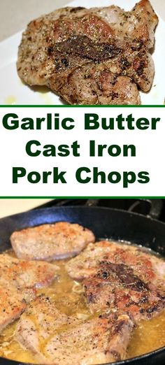 pork chop recipes This Garlic Butter Cast Iron Pork Chops Recipe is the perfect easy weeknight dinner with a cast iron skillet! Makes perfect Juicy and flavorful pork chops! Pork Chops Cast Iron, Oven Pork Chops, Skillet Pork Chops, Cooking Pork Chops, Juicy Pork Chops, Crock Pot Recipes, Easy Pork Chop Recipes, Pork Recipes, Recipies