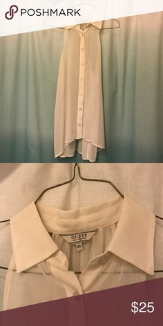 Guess blouse See through cream button up Guess Tops