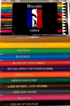 Les Misérables pencils are here! And we're giving 10 sets away. Theatre Nerds, Musical Theatre, Broadway Theatre, Les Miserables Funny, Les Miserables Quotes, Hamilton, Phantom Of The Opera, Memes, Singing
