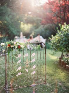 Vintage gate that doubles as an escort seating display | Design by K Rae Events