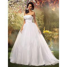 princesa bola vestido sem alças de tule e rendas do vestido de casamento – BRL R$ 400,42