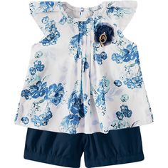 Conjunto Infantil para Menina de Verão Floral Marinho - Milon :: 764 Kids | Roupa bebê e infantil