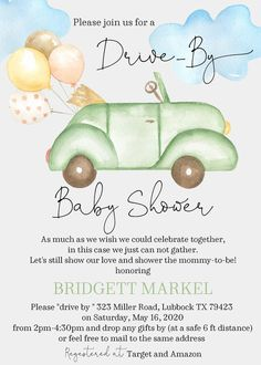 Drive By Watercolor Car Baby Shower Invitation - Sugar and Spice Invitations Sunflower Baby Showers, Butterfly Baby Shower, Baby Shower Decorations For Boys, Baby Shower Invitations For Boys, Virtual Baby Shower, Baby Shower Fall, Baby Shower Parties, Watercolor, Shower Ideas