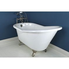 Features:  -Painted exterior.  -Aqua Eden collection.  -Finish: White.  -The tub cannot be used without the legs.  -Cannot be used without the legs.  Material: -Enameled cast iron.  Capacity: -40 Gall
