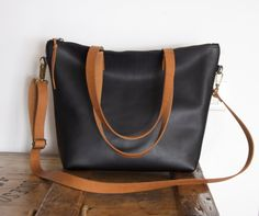 Medium Black Leather bag with zip and brown leather straps. Minimalist zipper leather bag.
