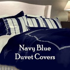 A navy blue duvet cover can quickly update your decor. Blue Duvet, Duvet Covers, Comforters, Navy Blue, Sleep, Blanket, Bedroom, House, Ideas
