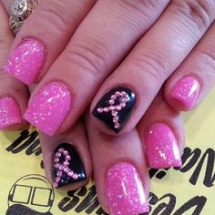 Breast Cancer Awareness Month: 50 Nails To Support The Cause Get Nails, Fancy Nails, Pink Nails, How To Do Nails, Pretty Nails, Hair And Nails, Breast Cancer Nails, October Nails, Manicure Y Pedicure