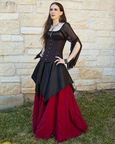 Roman Red Renaissance Skirt - Halloween Costume - Ren Faire Garb - Long Skirt - Vampire Costume - Me Renaissance Skirt, Medieval Gown, Renaissance Clothing, Steampunk Clothing, Gored Skirt, Hoop Skirt, Handmade Skirts, Costumes, Costume Ideas