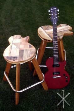 Custom Made Reclaimed Wood Guitar Stools...this would be cool with metal legs as a stool or end table...or even a clock from the top part