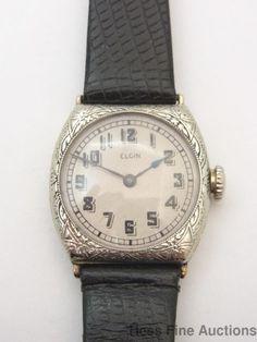 Scarce Extra Large Vintage Art Deco Elgin 14k White Gold Wrist Watch #Elgin
