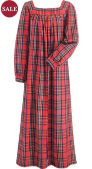 Long Square Neck Plaid Flannel Nightgown