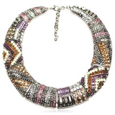 Aja - Metal Crystal Vintage Choker Gold / Silver Statement Necklaces