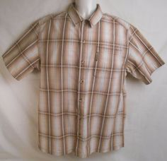 COLUMBIA Men's Size Small Sportswear Casual Short Sleeve Brown Plaid Shirt #Columbia #ButtonFront
