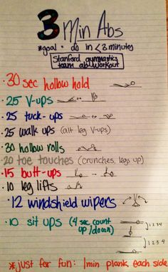 Killer abs. Stanford women's gymnastics team ab workout: goal is to complete it in under 3 minutes. That's 30 seconds per exercise set