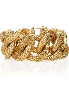 Yves Saint Laurent|Gold-plated stingray-effect chain bracelet|NET-A-PORTER.COM - StyleSays