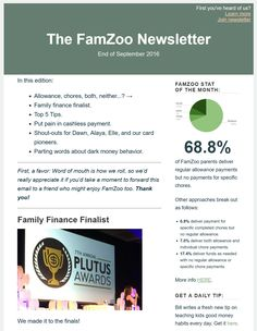 End of September 2016 Newsletter: a stat about who's paying for allowance, chores, both, or neither; finalists for family finance blog of the year; top 5 family finance tips for parents; putting some pain in cashless payments; shout-outs for Dawn, Alaya, Elle, and FamZoo card pioneers; and dark parting words about bad money behavior.