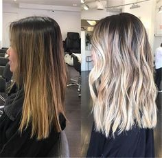 50 Amazing Blonde Balayage Haircolor Before / after to blonde bayalageDONT WANT this dramatic of a fade, would rather have more dark going gradually blondeBefore / after to blonde bayalage Blonde Hair Color Ideas to help you gather inspiration for your ne Medium Hair Styles, Short Hair Styles, Long Hair Cut Short, Short Men, Curly Short, Straight Hair, Hair Color For Women, Hair Magazine, Hair Color Balayage