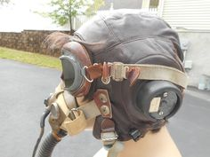 75e01d82c4 Details about WW2 RAF Grouping Oxygen Mask Type H Leather Flight helmet  Type C Early Goggles