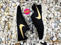 cd5f01fa0 Custom Roshes, Custom Nike Roshe Black and Gold splatter design, Mens and  Womens, Unisex sizes