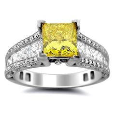 2.75ct Canary Yellow Fancy Princess Cut Diamond Engagement | http://www.cybermarket24.com/2-75ct-canary-yellow-fancy-princess-cut-diamond-engagement/