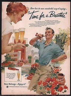 1956 BEER BELONGS Vintage AD Couple In Flower