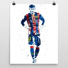 Neymar da Silva Santos Júnior poster. Neymar is a Brazilian professional footballer who plays for Spanish club FC Barcelona and the Brazil national team as a forward or winger, and is also the captain