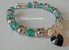Bracelet fête des mères perles swarosvski et coeur : Bracelet par couleur-grenadine33