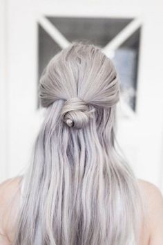Half up, half down lilac hair
