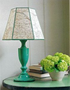 Decorating with Maps - lampshade! I'm kind of obsessed with maps these days...