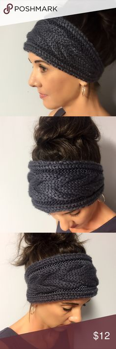 Charcoal Gray Knit Head Wrap Knitted head wrap in charcoal gray. Button closure in back. Accessories Hair Accessories