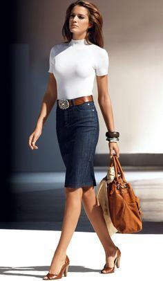 ❤❤ White mock turtleneck top, denim pencil skirt, matching brown wide belt, shoes & handbag with a camel/white check print scarf, dark brown, silver & gold bracelets