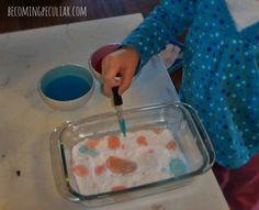 La transferencia con un cuentagotas: 14 actividades Montessori para un niño de dos años de edad,Lydia tuvo que utilizar las habilidades que aprendió con el baster (arriba) para dominar esta actividad. Éste es parte del ejercicio motriz fina, experimentar la ciencia parte: I color un poco de vinagre, y tenía su transferencia a un plato de bicarbonato de sodio para verlo chisporrotear y espuma. Fun!