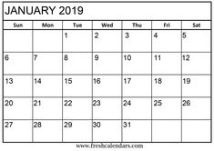 15 best january 2019 calendar printable free landscape and rh pinterest com