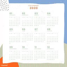 Printable Yearly Calendar, Calendar 2020, Calendar Design Template, 12 November, Happy New Year 2020, 2020 Design, Christmas And New Year, Free Design, Clip Art
