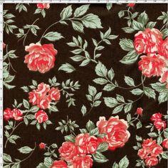 Tecido Estampado para Patchwork - Coleção Nashville Marrom Grand Floral (0,50x1,40) - Bazar Horizonte