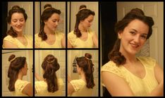 Make a Disney Princess Belle hairstyle! This hairstyle was inspired by the hair Belle was wearing with her lovely yellow ball gown in the Disney ,Today . Hipster Belle, Top 10 Halloween Costumes, Diy Costumes, Costume Ideas, Robes Disney, Parted Bangs, Belle Hairstyle, Disney Hair, Belle Dress