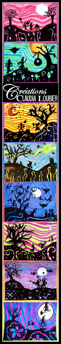 best Ideas for tree illustration art projects Halloween Art Projects, Fall Art Projects, School Art Projects, Art Plastique Halloween, Bricolage Halloween, Classe D'art, October Art, 4th Grade Art, Ecole Art
