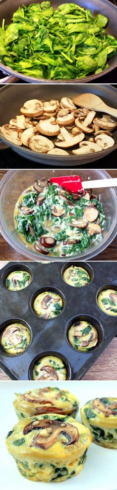 Spinach Quiche Cups: 10oz spinach, mushrooms, 4-5 eggs, 1 cup shredded cheese. 375 for 20-23 min -- make and freeze!