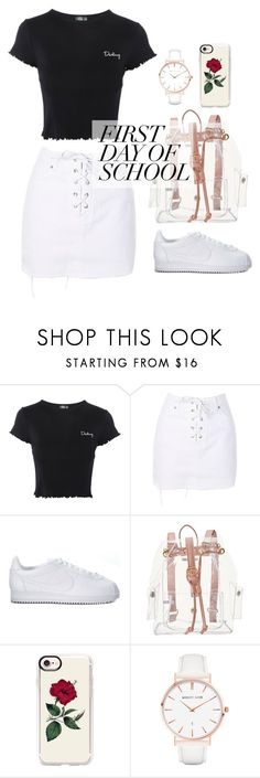 """""""1st Day of School"""" by cleopxtrx-home ❤ liked on Polyvore featuring Topshop, NIKE, Charlotte Russe, Casetify and Abbott Lyon"""