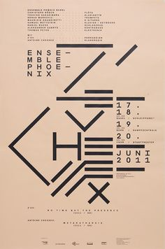Ensemble Phœnix / Z'ev / Antoine ChessexDesign: Marco PapiroScreen print, 430 × 650 mm Typography Layout, Graphic Design Typography, Lettering, Poster Fonts, Typographic Poster, Line Art Design, Book Design, Graphic Design Layouts, Layout Design
