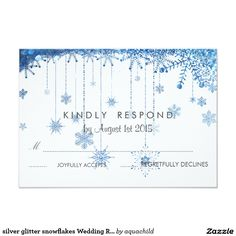 silver glitter snowflakes Wedding RSVP Card
