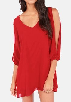 Love the Color! Love the Sleeves! Sexy Red Plain Hollow-out Split Sleeve Chiffon Pullover #Sheer #Sexy #Red #Fashion