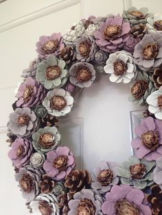 Handcrafted pinecone wreath.