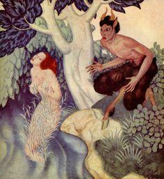 Pan et Syrinx, dessin de Edmund Dulac (1882-1953, France)