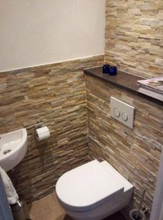 Dreamy wc toilet in bathroom ideas for you waaaw 1 - Vario Wall Small Toilet Room, Small Bathroom, Bathroom Wall, Cloakroom Toilet Downstairs Loo, Washroom, Wc Design, Brick In The Wall, Bathroom Colors, Bathroom Ideas
